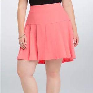 Torrid Coral Pleated Skater Mini Skirt Size 16